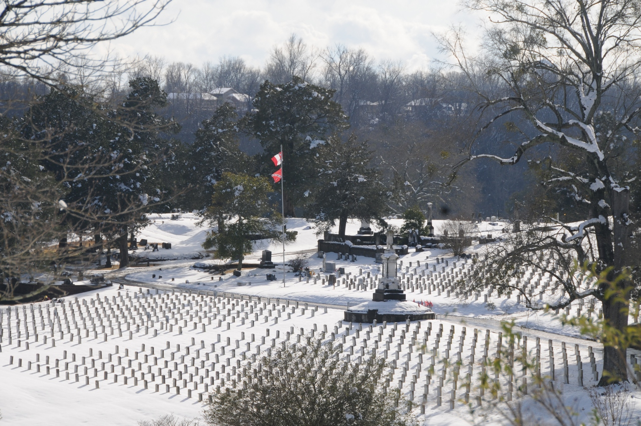 Soldier's Rest Confederate Cemetery under snow, briefly, 12 February 2010