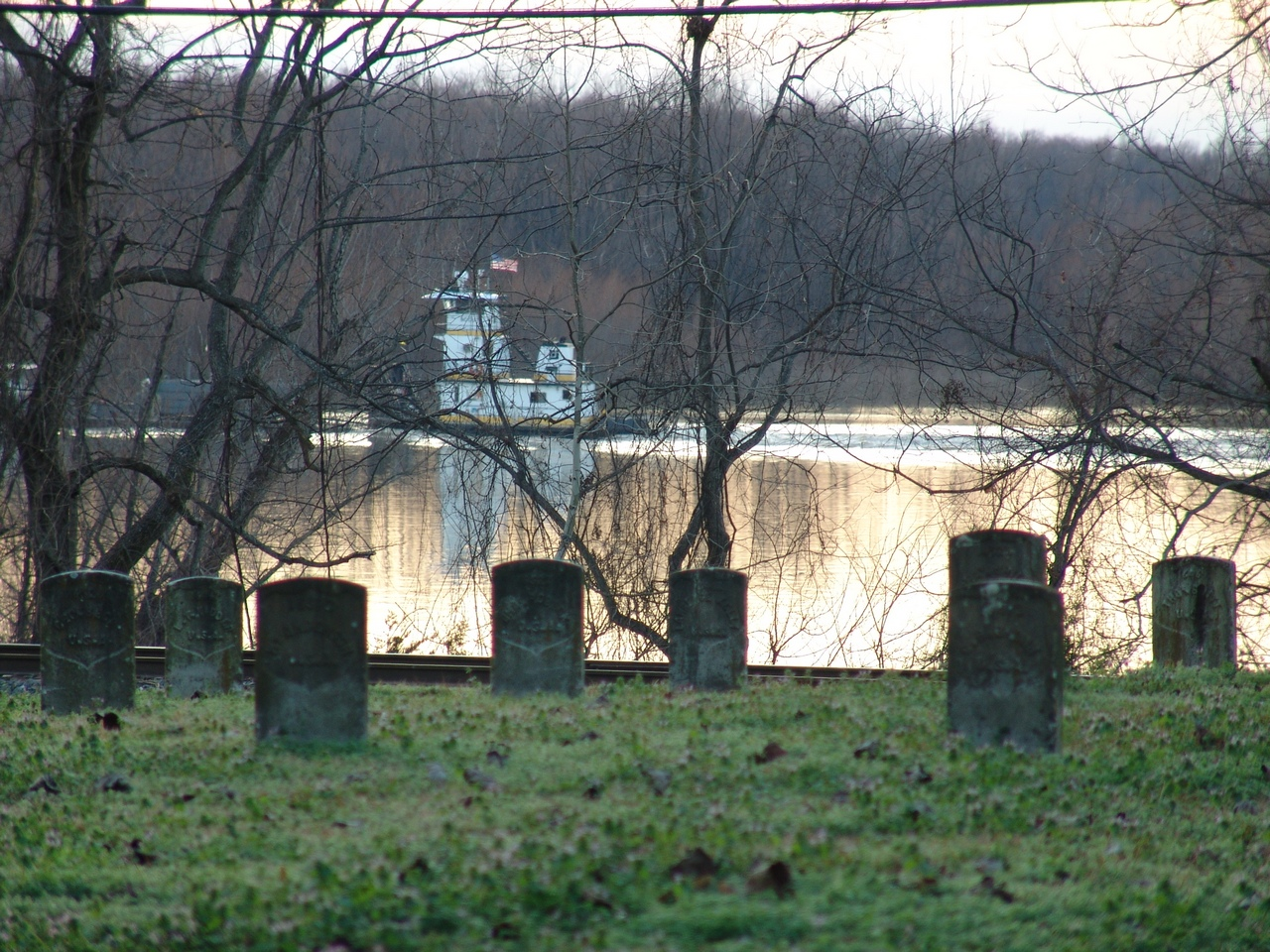Towboat on Yazoo Diversion Canal seen from Vicksburg National Cemetery