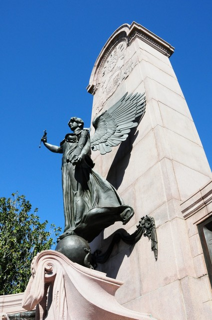 The monument features a bronze angel which represents The Spirit of the Republic.  2/26/2012